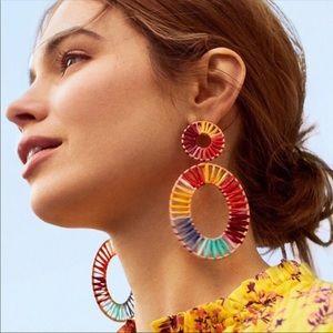 NWOT Anthro BaubleBar Rainbow Color Rattan Earring